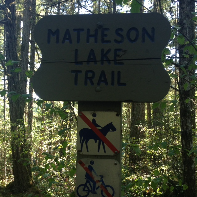Trail access sign from the Galloping Goose.