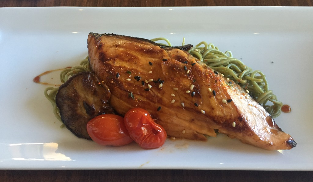 Marinated and grilled salmon with soba noodles at The Next Modern Japanese Cuisine in Victoria.