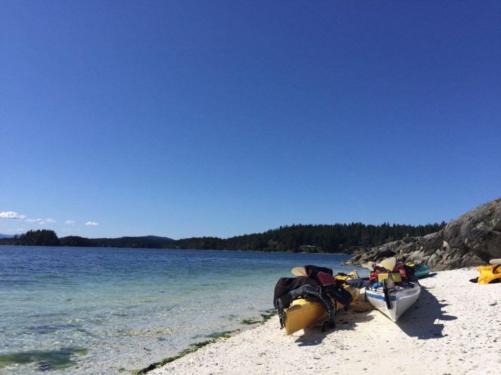 Kayaks taking a break at Chocolate Beach.