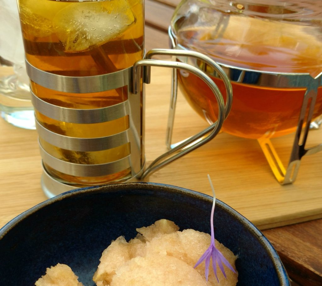 White Blossom iced-tea and homemade rhubarb and jasmine tea sorbet. Yum! Photo by Lisa Matthaus.